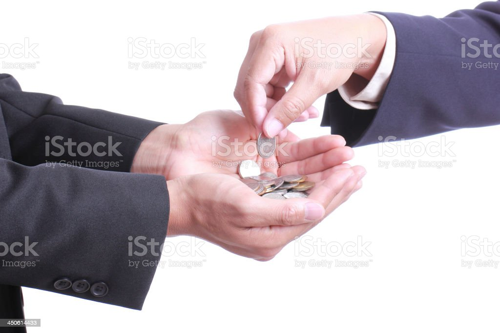 Businessman give money to partner royalty-free stock photo