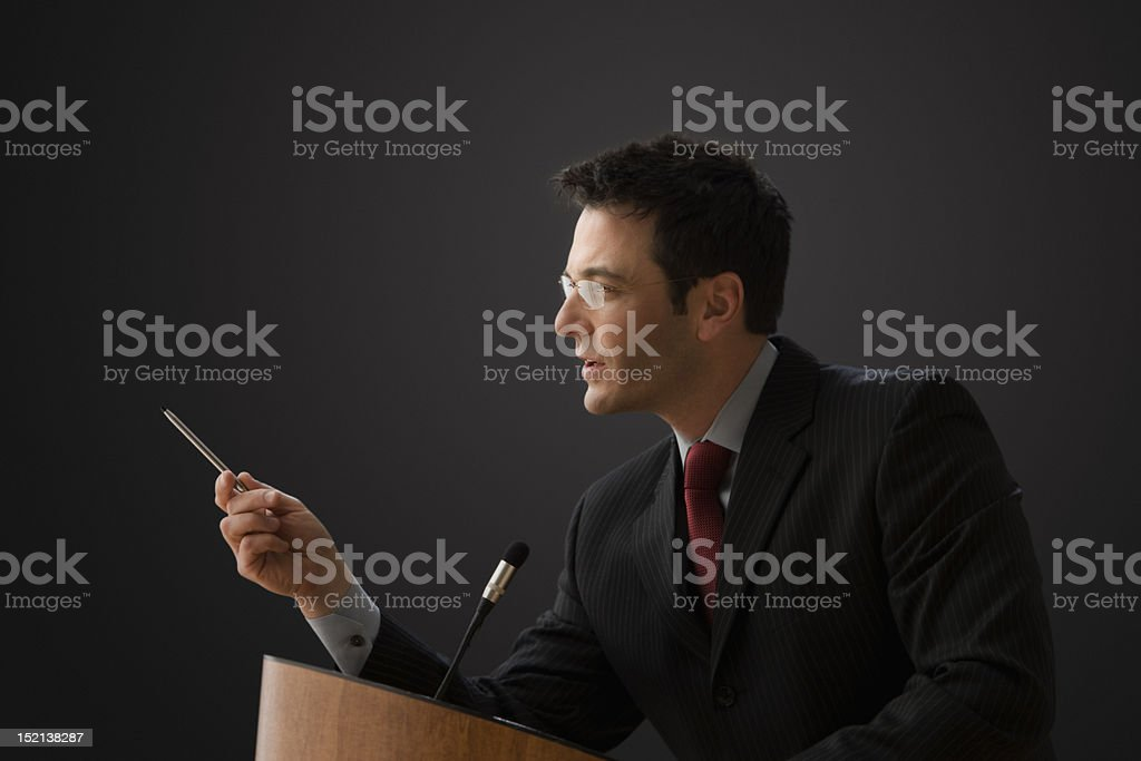 Businessman Giving a Lecturing royalty-free stock photo