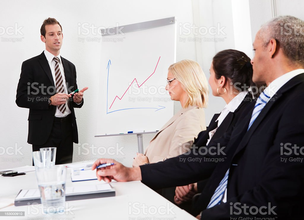 Businessman giving a presentation royalty-free stock photo
