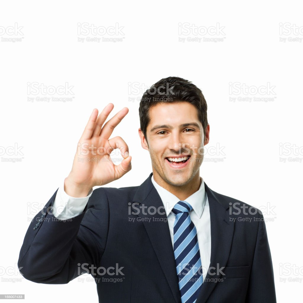 Businessman Giving an Okay Sign - Isolated royalty-free stock photo