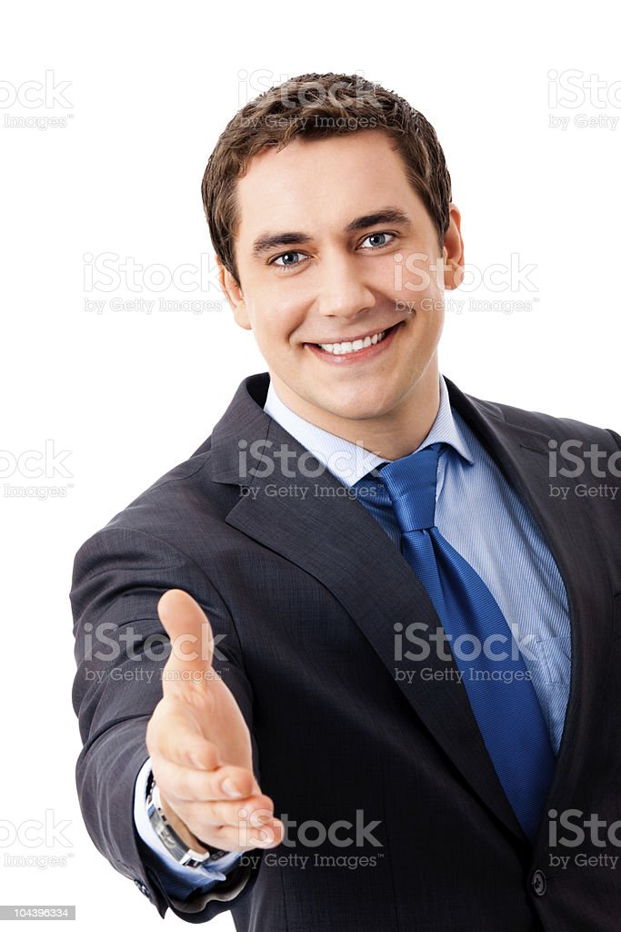Businessman giving hand for handshake, isolated on white royalty-free stock photo