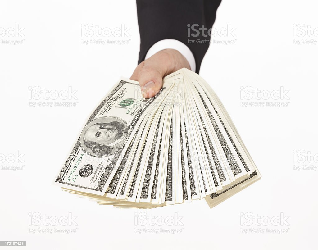 businessman giving money stock photo