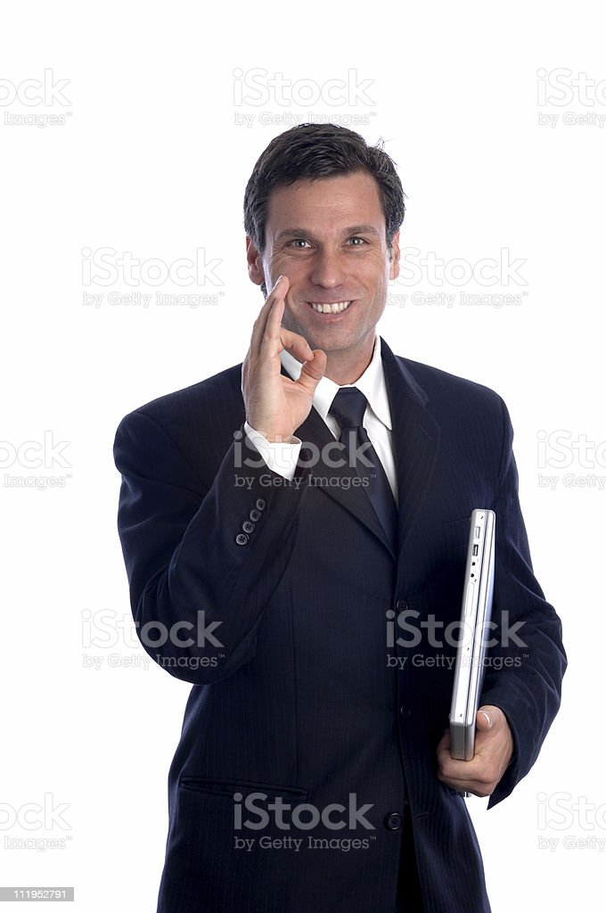 Businessman giving OK Sign Gesture Isolated on White Background royalty-free stock photo