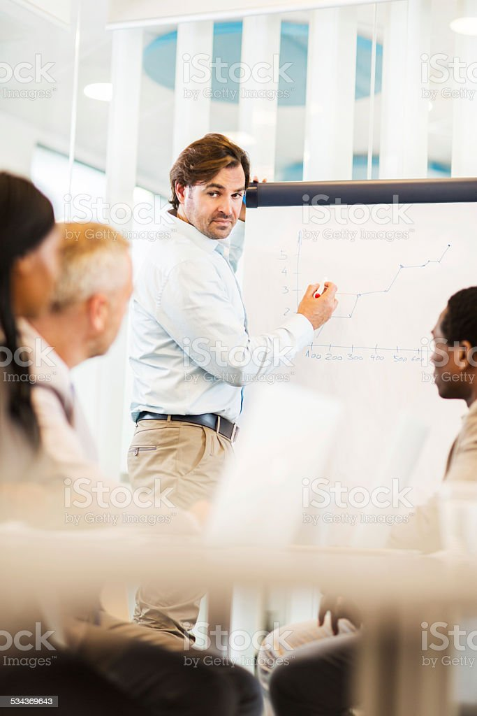 Businessman giving presentation. stock photo