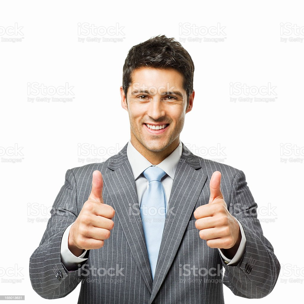 Businessman Giving Two Thumbs Up - Isolated royalty-free stock photo