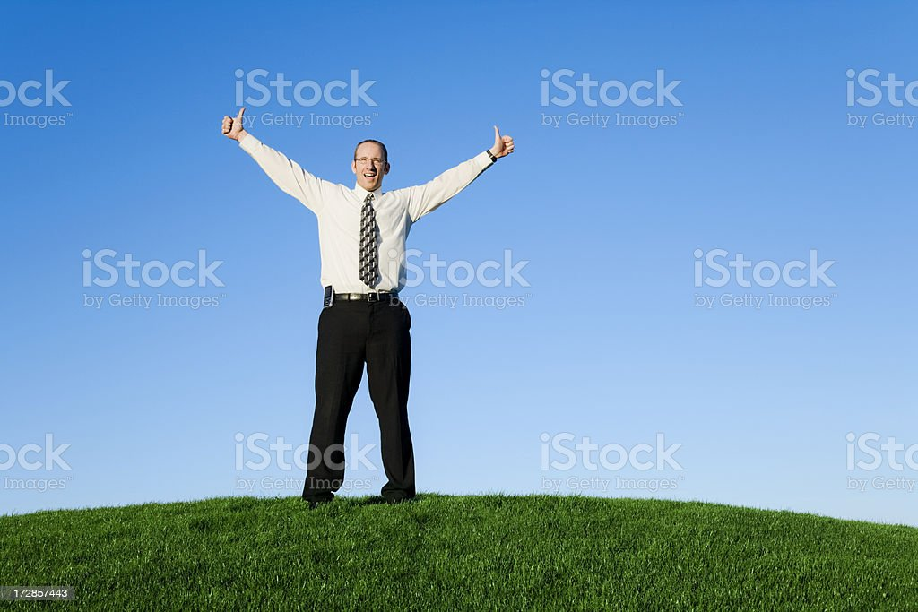 Businessman Giving Two Thumbs Up stock photo