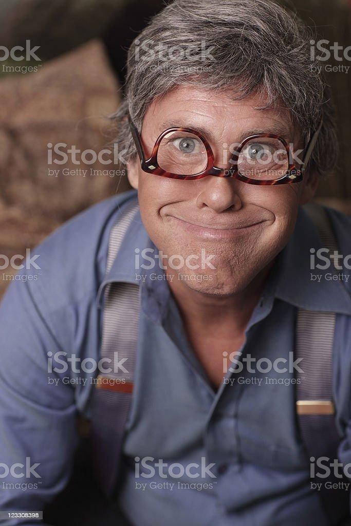 Businessman goofy headshot stock photo