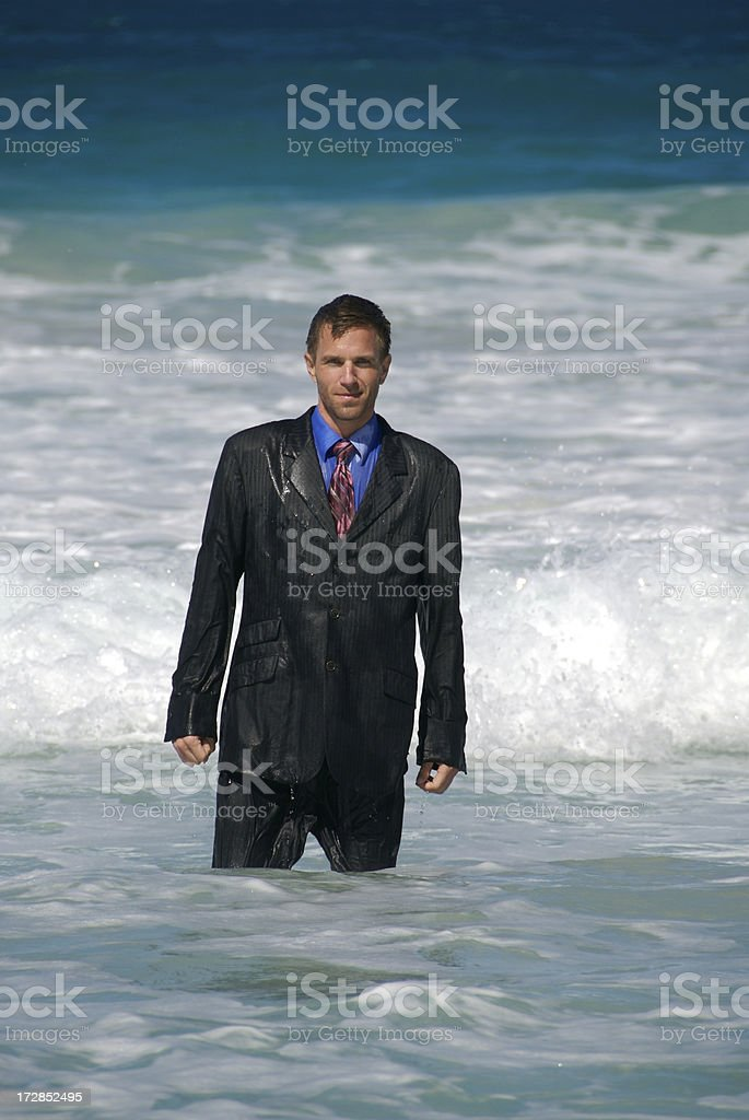 Businessman Got a Soaking royalty-free stock photo