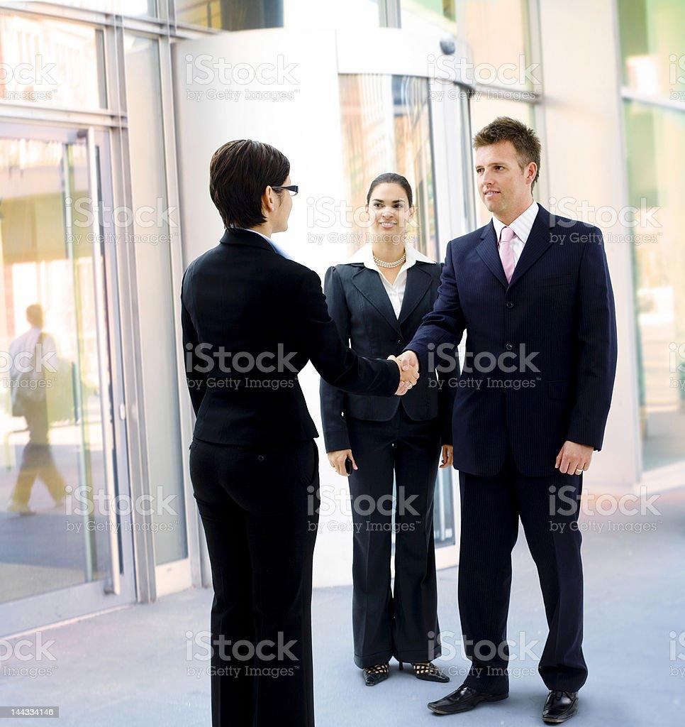 Businessman greeting partner royalty-free stock photo
