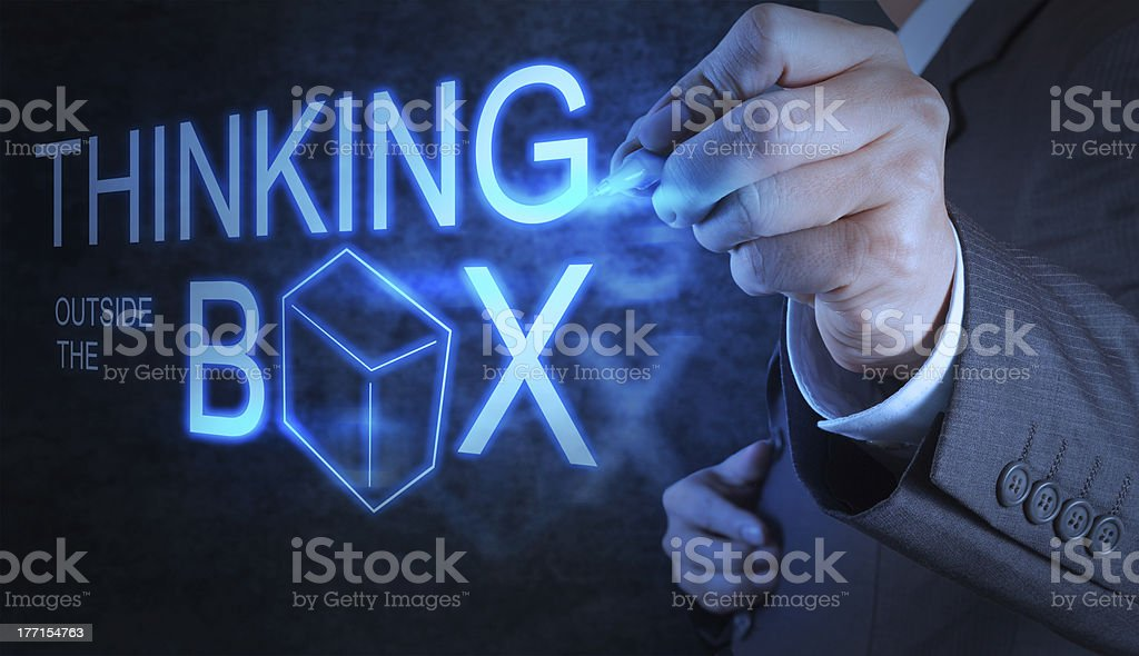 businessman hand draw thinking outside the box royalty-free stock photo