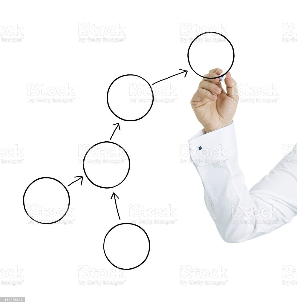 Businessman hand drawing empty Chart royalty-free stock photo