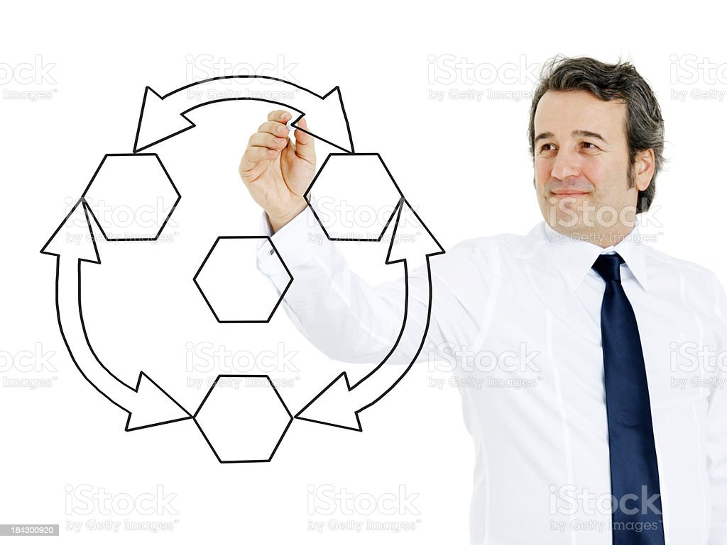 Businessman hand drawing empty diagram royalty-free stock photo