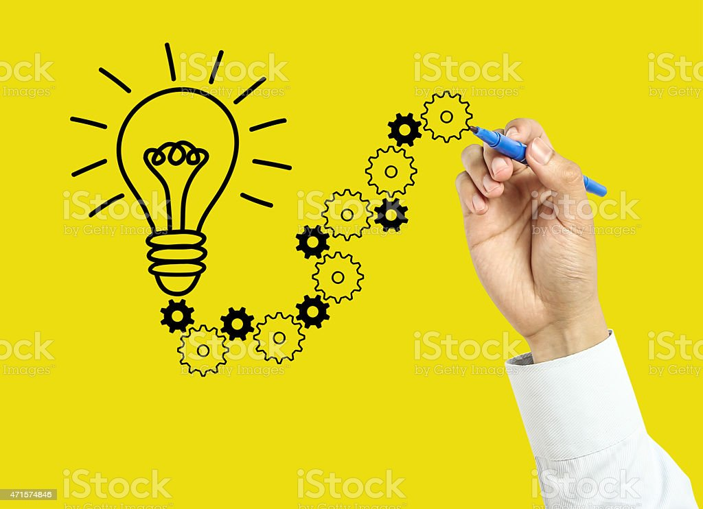 Businessman hand drawing solution concept stock photo