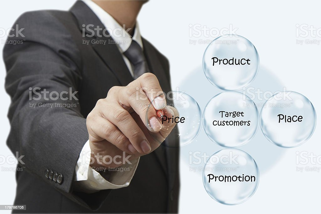 businessman hand draws target customers diagram royalty-free stock photo