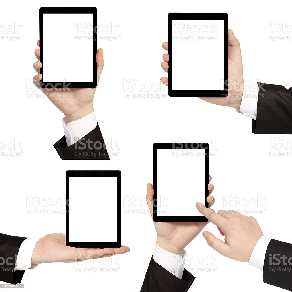 businessman hand holding tablet computer royalty-free stock photo