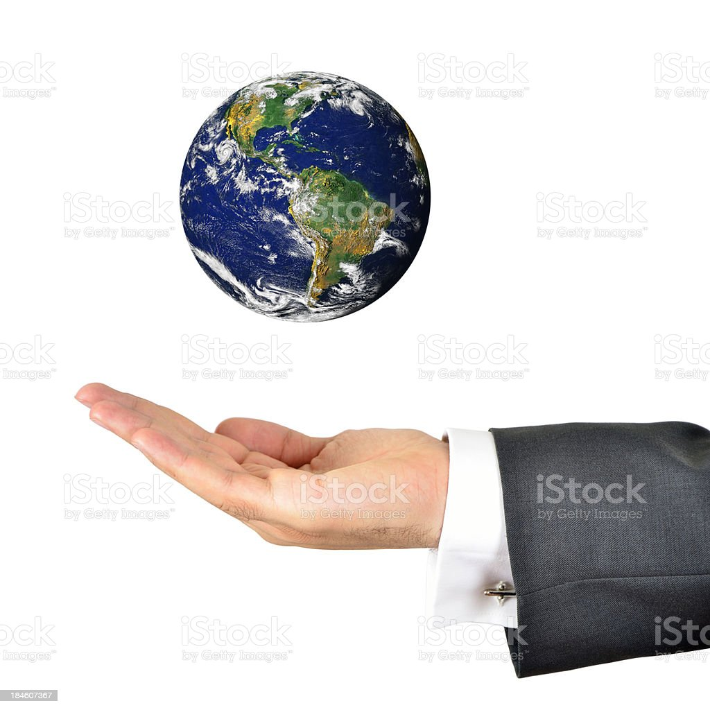 Businessman hand holding the world royalty-free stock photo