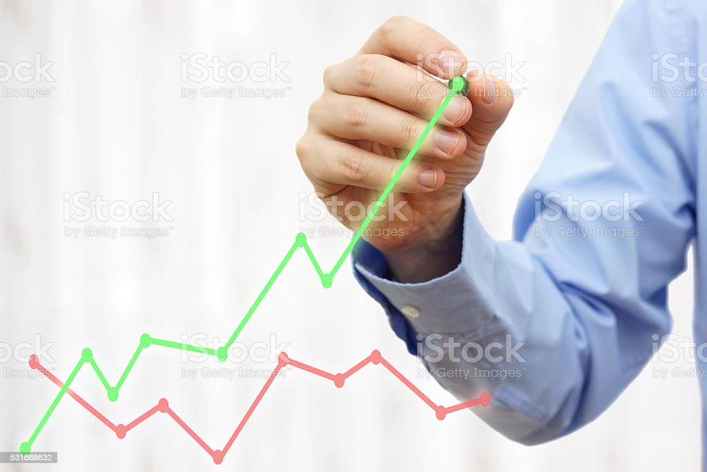businessman hand is drawing growing green line, growth concept, stock photo