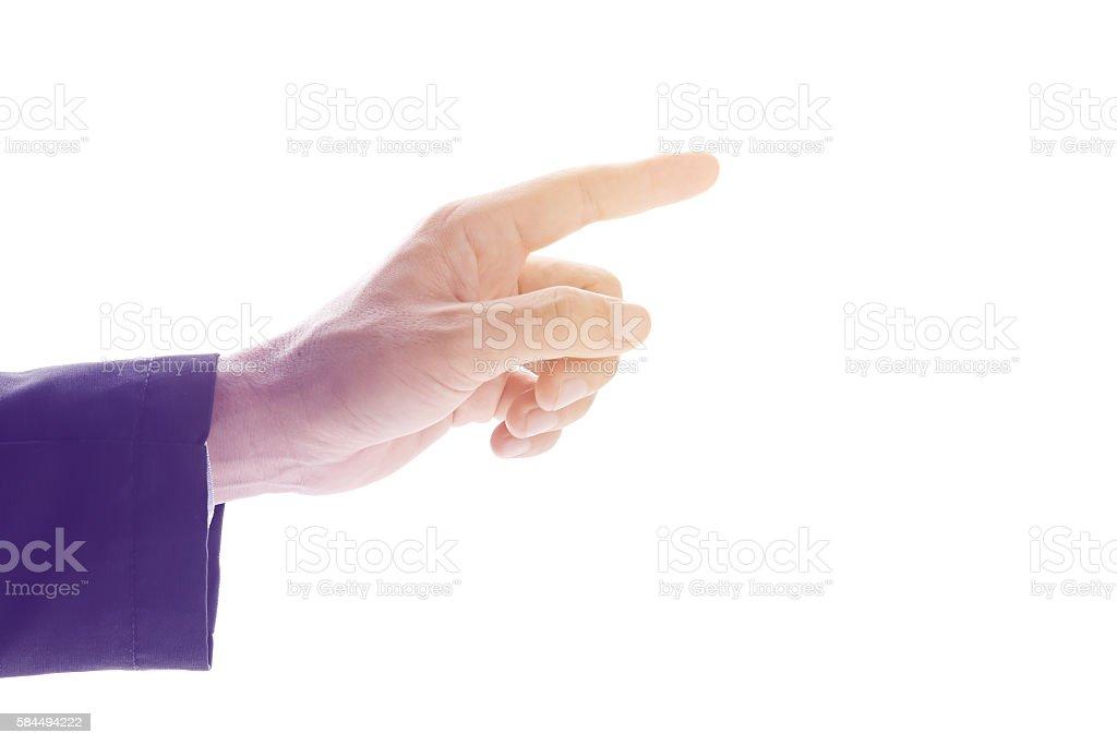 Businessman hand point stock photo