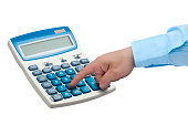 Businessman hand pressing key on calculator isolated