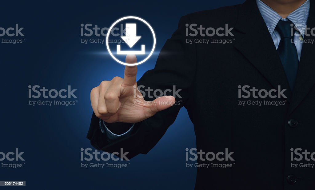 Businessman hand pushing button web download icon over blue background stock photo