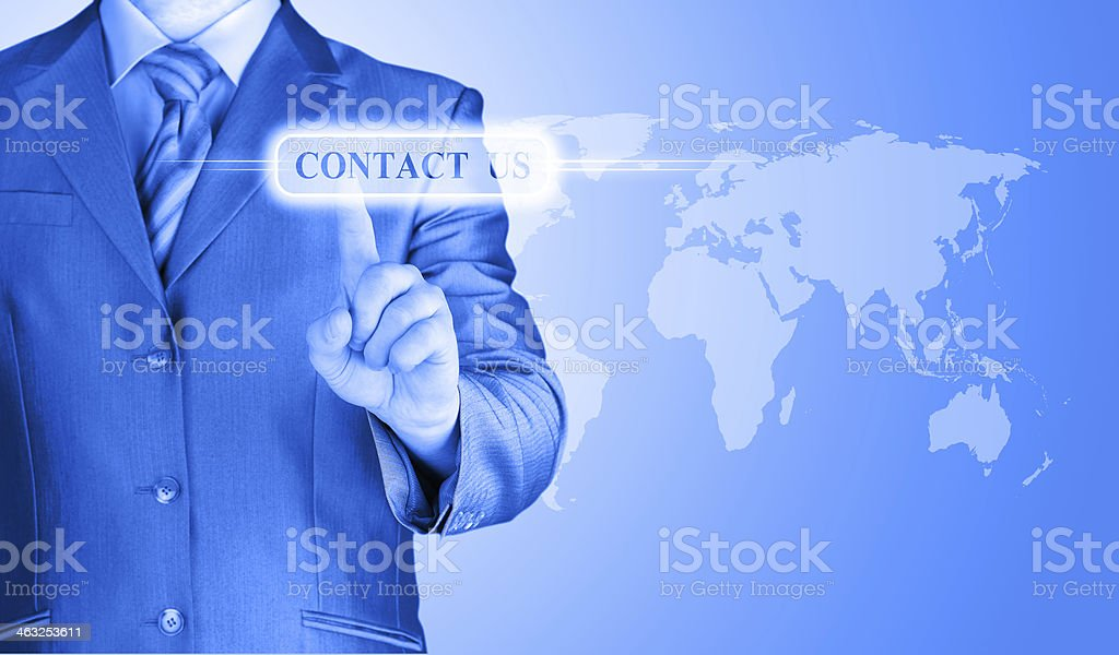 businessman hand pushing contact us button stock photo