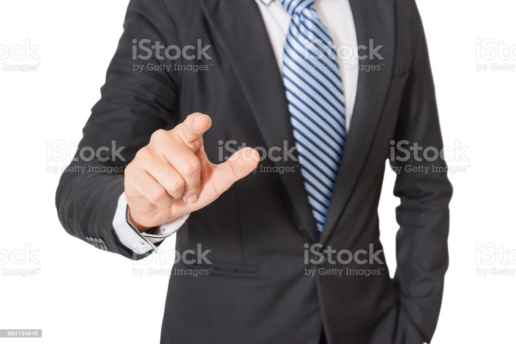 businessman hand pushing screen on white background, with clipping path stock photo