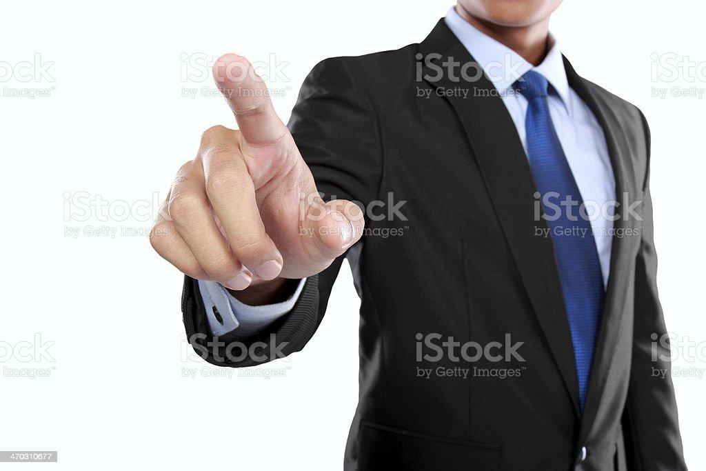 businessman hand pushing virtual screen royalty-free stock photo