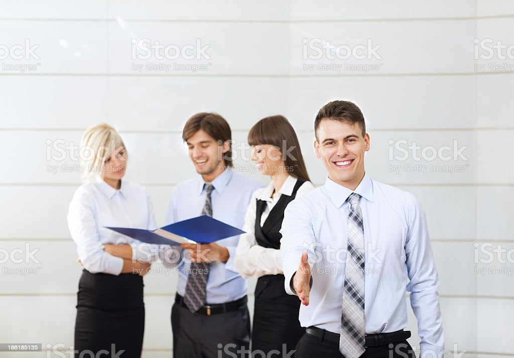businessman hand shake office business people background royalty-free stock photo