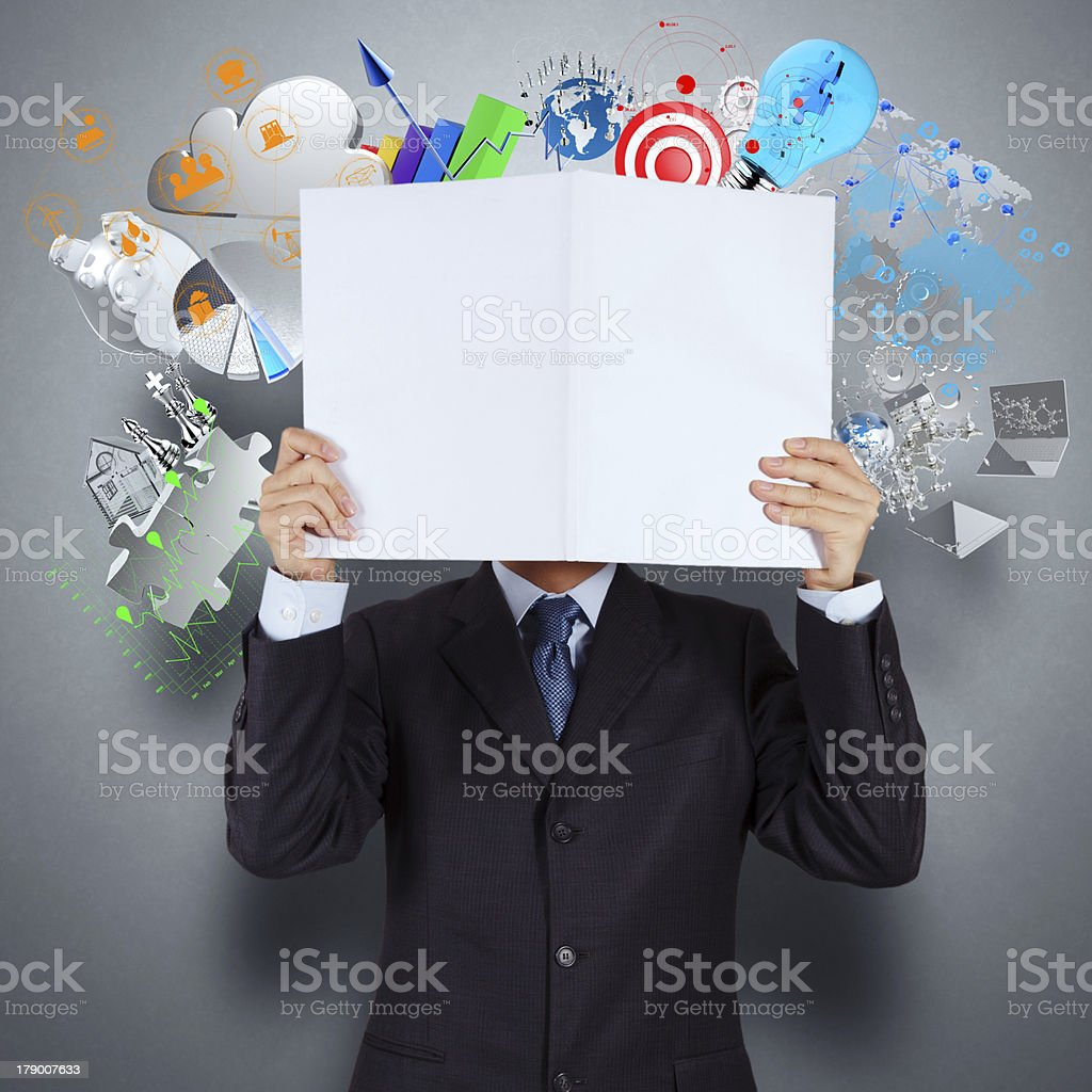 businessman hand show book of success business royalty-free stock photo
