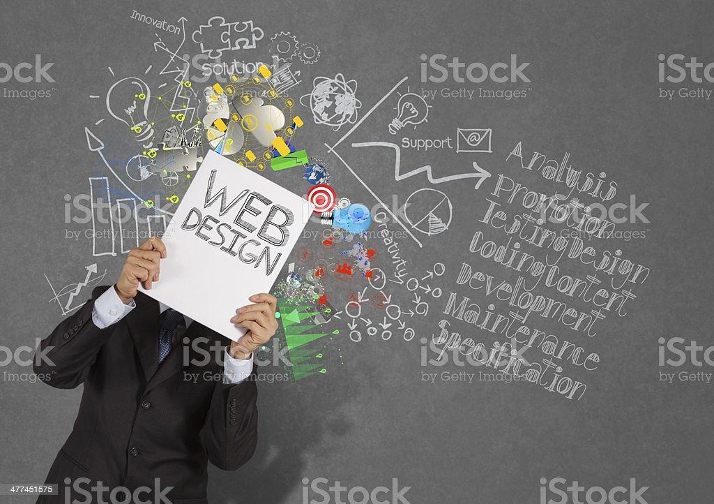businessman hand show book of web design stock photo
