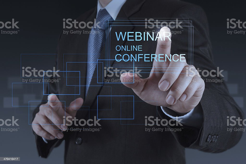 businessman hand show webinar online conference royalty-free stock photo