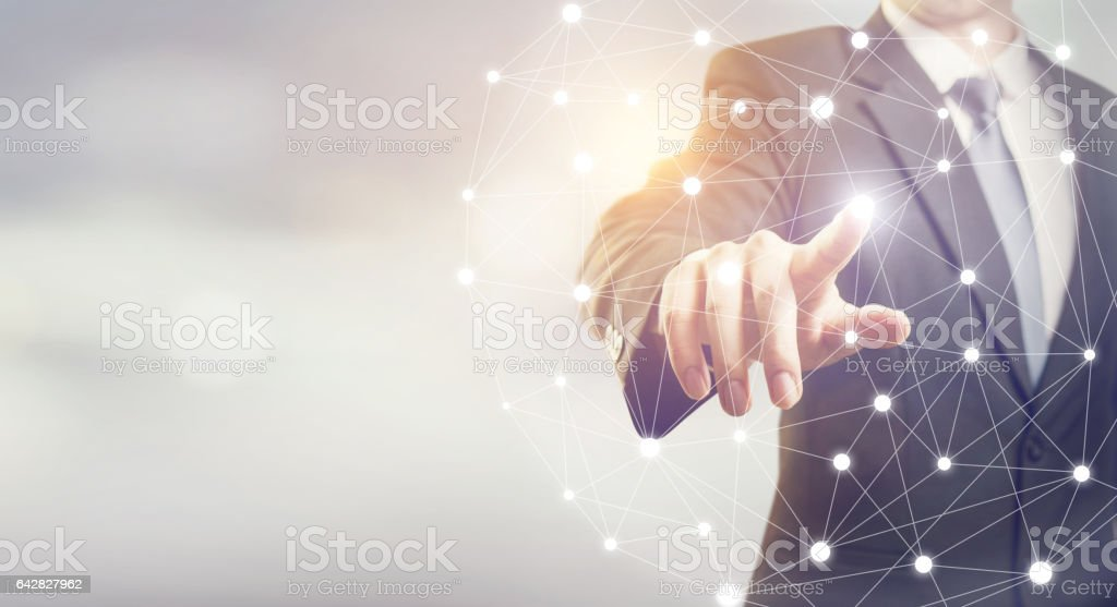 Businessman hand touching map point, network connection stock photo