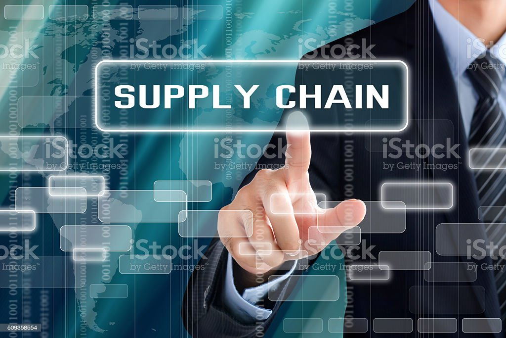 Businessman hand touching SUPPLY CHAIN sign on virtual screen stock photo