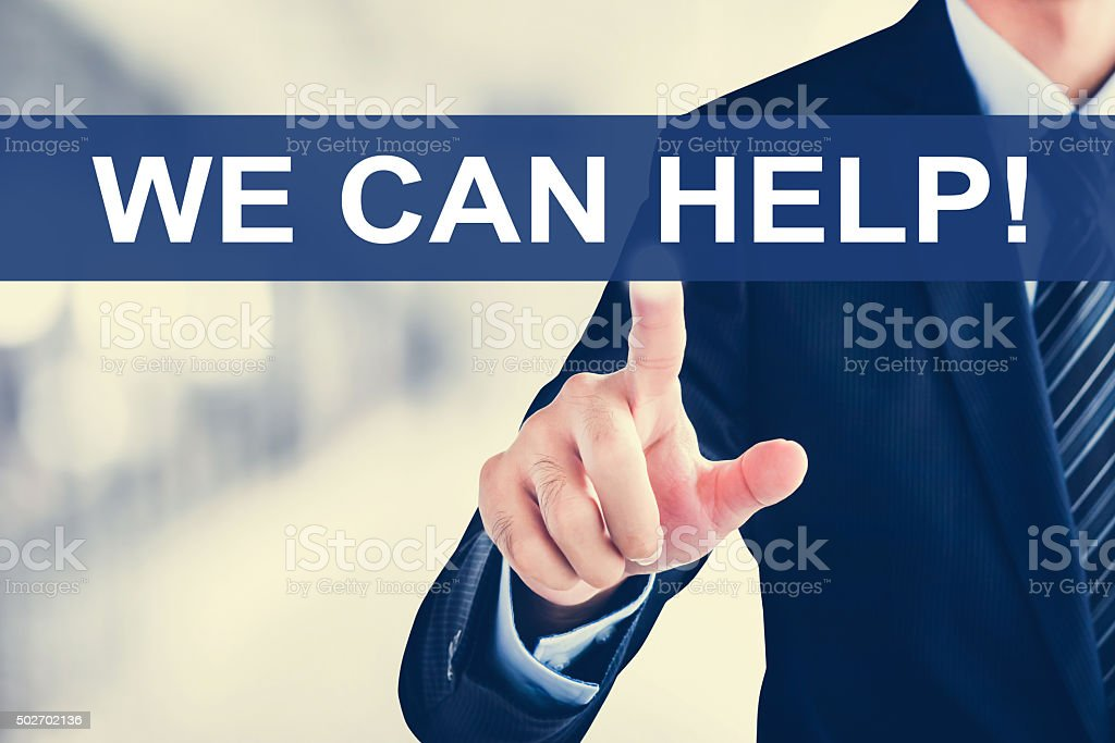 Businessman hand touching WE CAN HELP ! tab stock photo