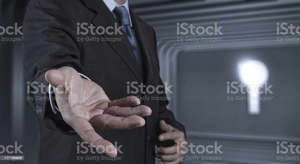 Businessman hand working with a digital tablet on meeting room royalty-free stock photo