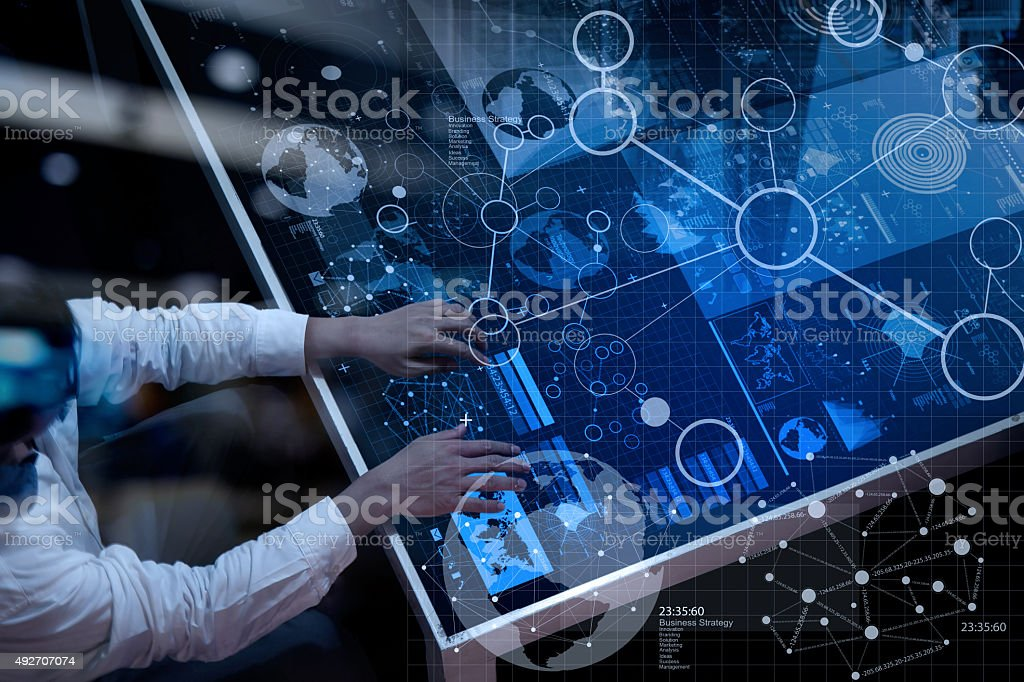 businessman hand working with modern technology and digital stock photo