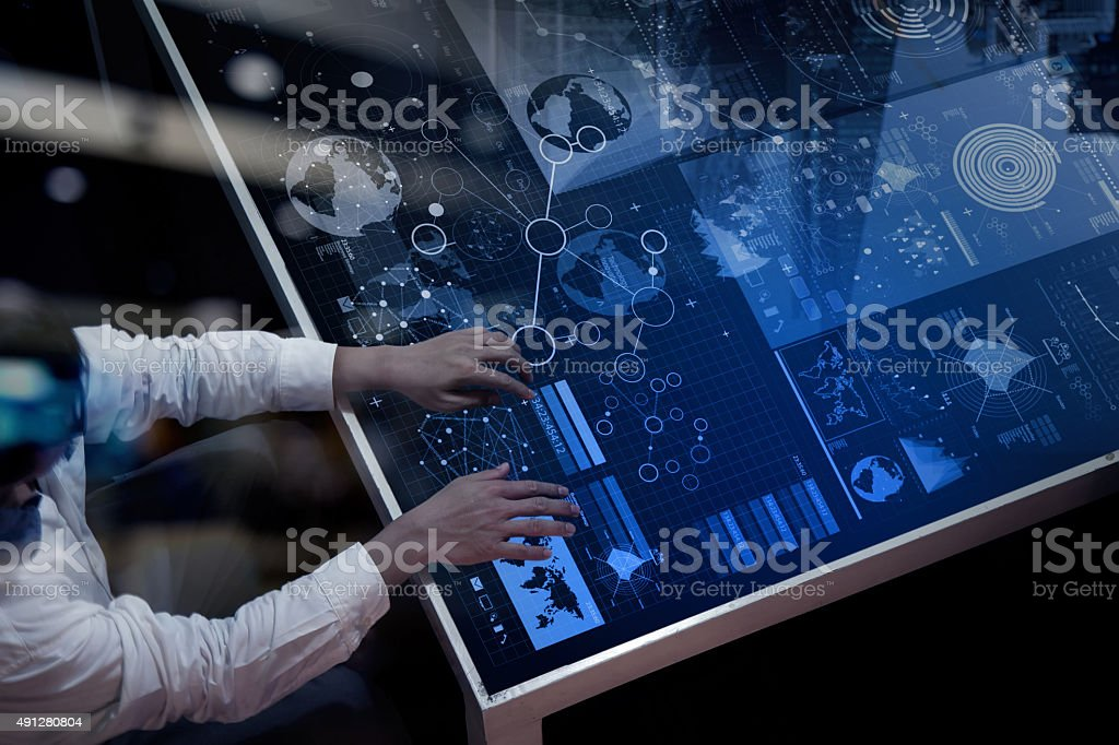 businessman hand working with modern technology stock photo