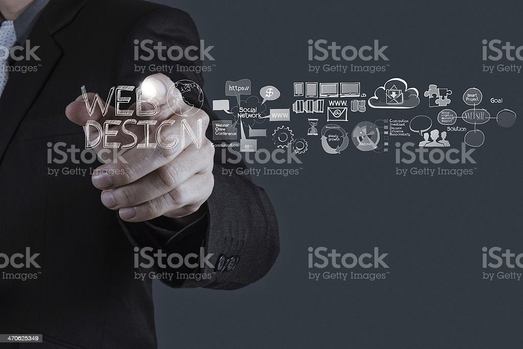 businessman hand  working with  web design diagram as concept stock photo