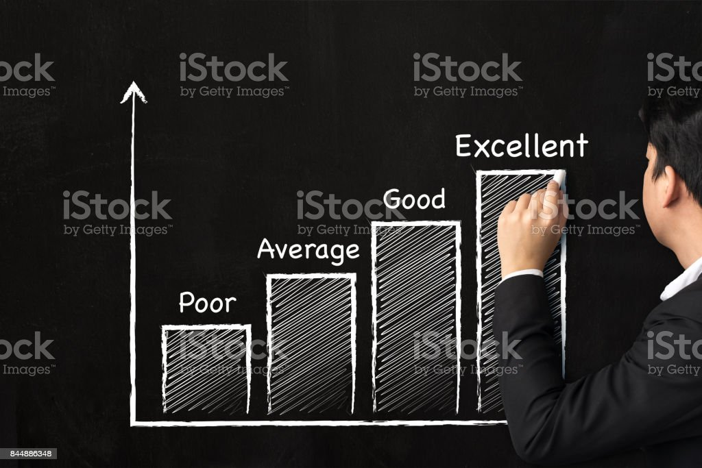 Businessman hand writing graph growing step ranking for business on the chalkboard, Excellent concept stock photo