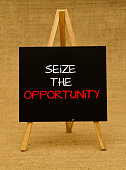 Businessman hand writing Seize the opportunity
