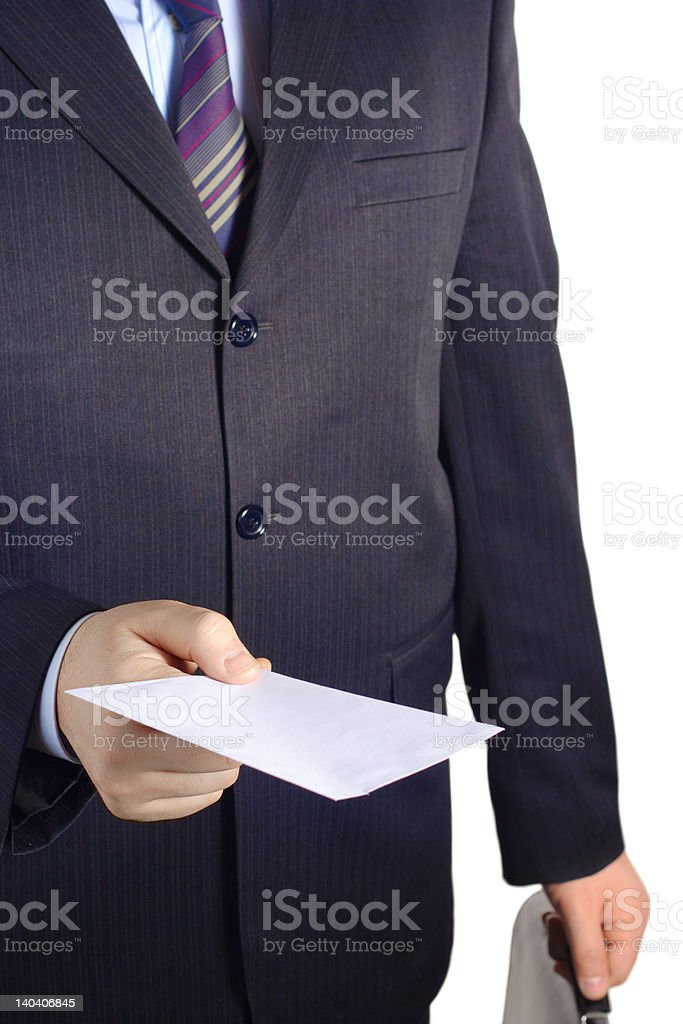 Businessman handing over a blank letter royalty-free stock photo