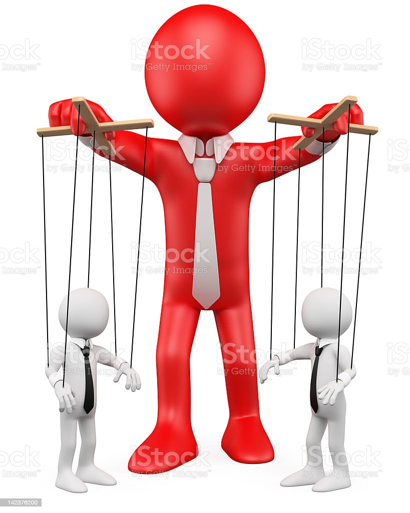 3D businessman handling their employees like marionettes royalty-free stock photo