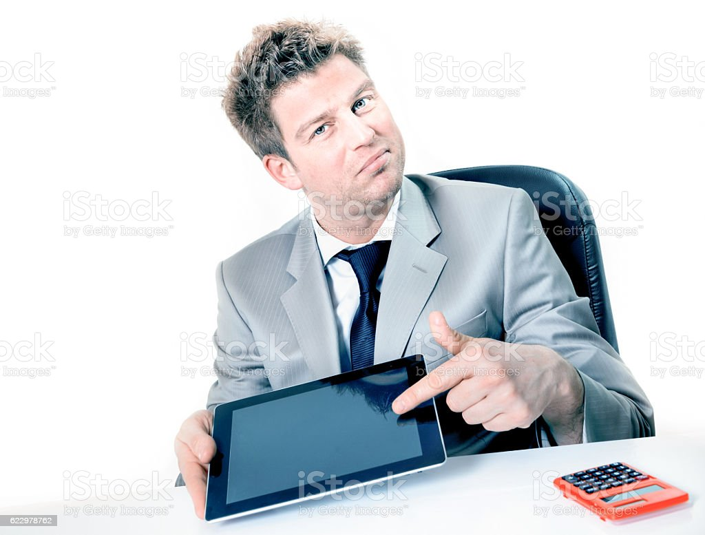 Businessman hands are pointing on touch screen device stock photo