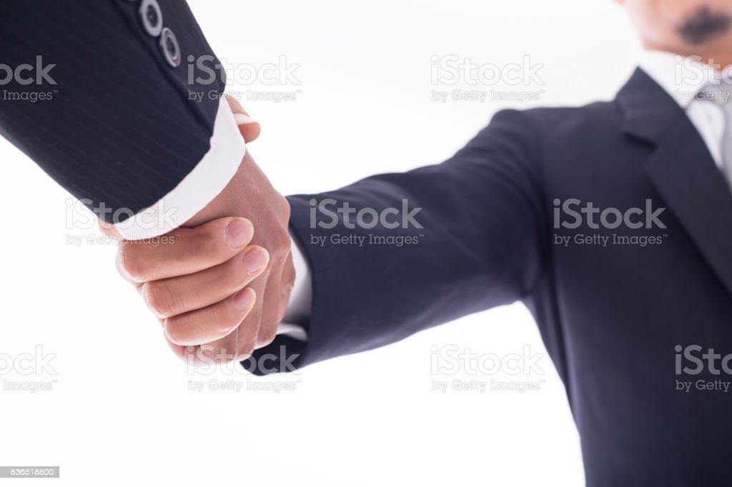 Businessman handshake for agreement stock photo