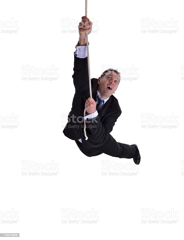 Businessman hanging on stock photo