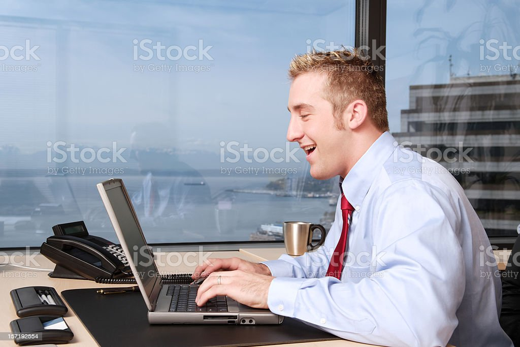 Businessman Happily at Work royalty-free stock photo