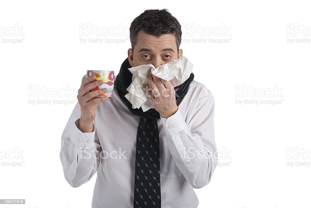 Businessman has a cold royalty-free stock photo