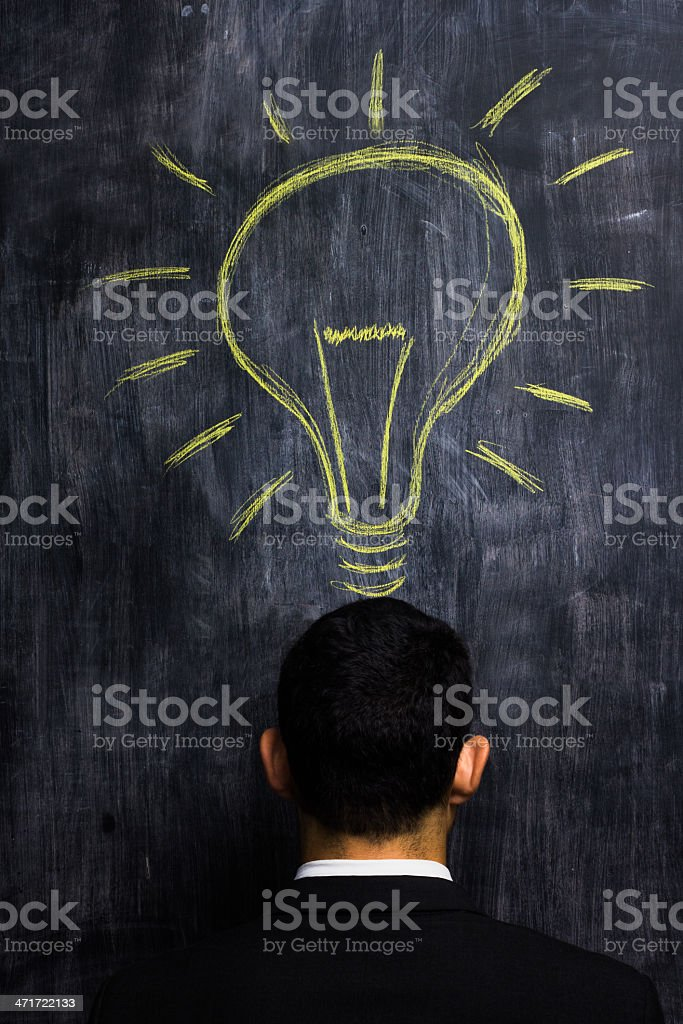 Businessman having a bright idea royalty-free stock photo