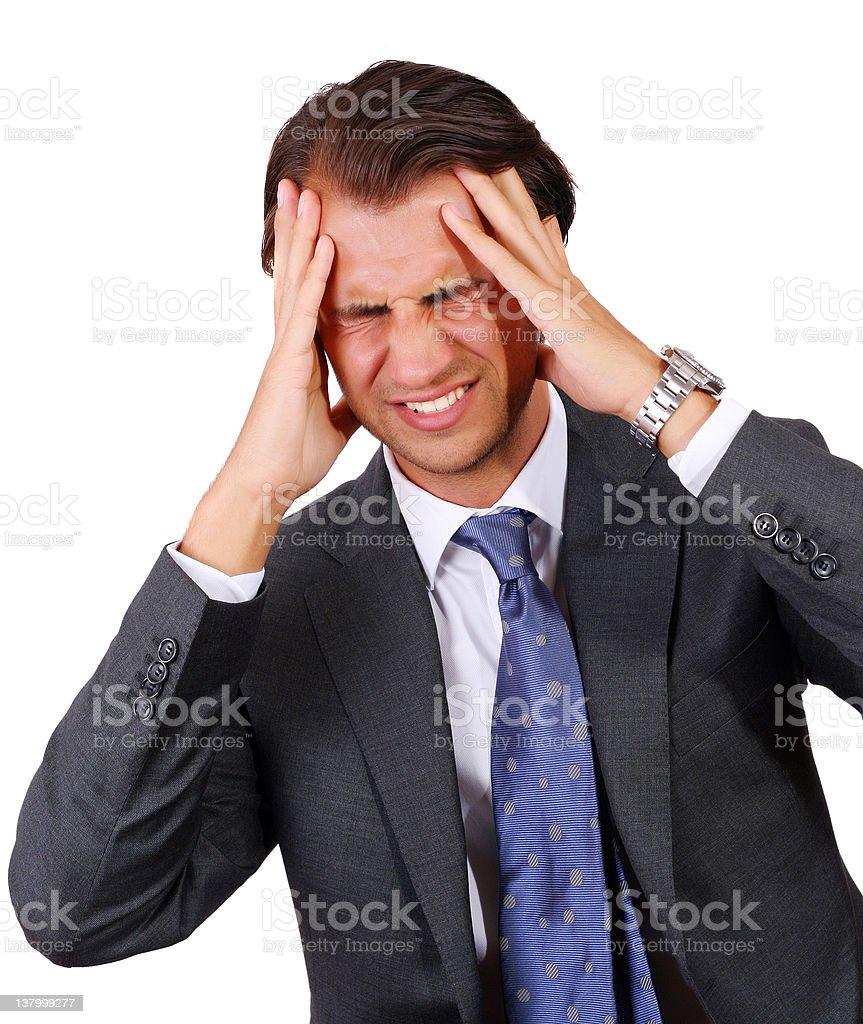 Businessman having a headache royalty-free stock photo