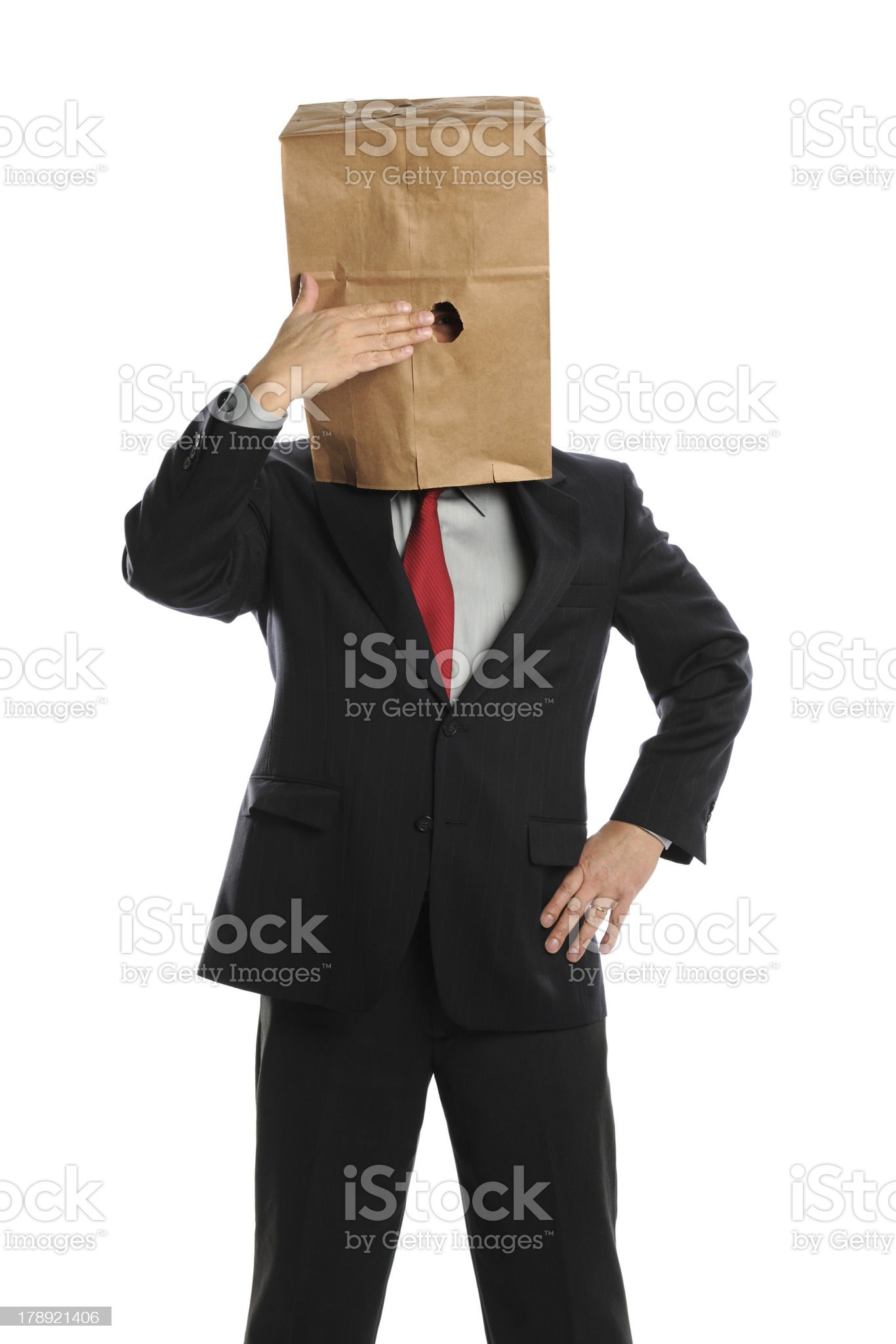Businessman Hiding Behind Paper Bag royalty-free stock photo
